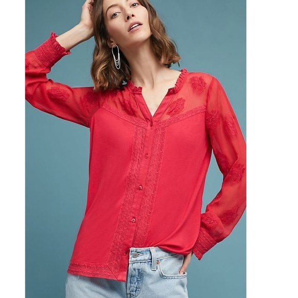 Anthropologie Tops - Anthropologie Meadow Rue  Floral Henley new
